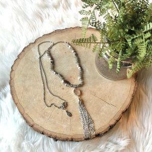 LOFT Silver Bead Tassel Geode Boho Chain Necklace
